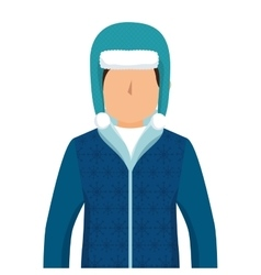 Person character with winter clothes vector