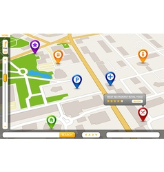 Perspective city map GPS service concept 3d city vector image