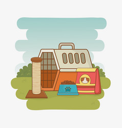 pet transport box and food vector image