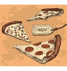 Pizza hand drawn vector