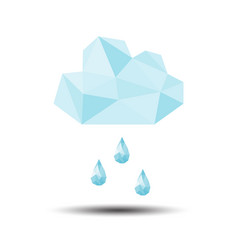 Polygon rain with cloud icon on white background vector