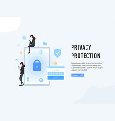 privacy protection web page poster vector image