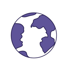 purple line contour of earth globe icon vector image