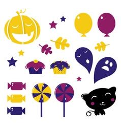 retro halloween icons vector image vector image