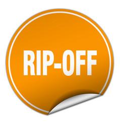 Rip-off round orange sticker isolated on white vector