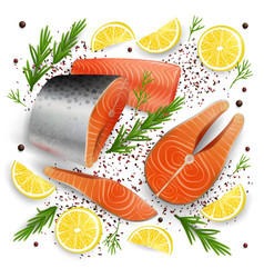 salmon red fish 3d realistic vector image
