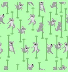seamless pattern with koalas pole dance graphics vector image