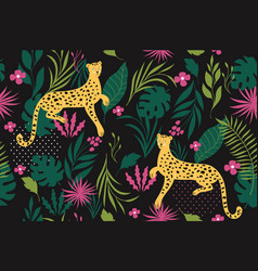 seamless pattern witn leopards on a black backgrou vector image