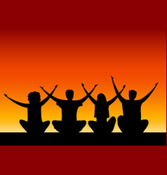 seated group people with their hands up vector image