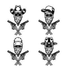 Set bandit holding gun vector