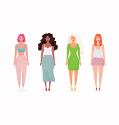Set with beautiful women colorful people flat vector