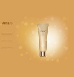 Skin toner ads template golden glass bottle mocku vector