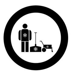 Snow removal icon black color in circle vector