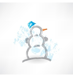 snowman grunge icon vector image