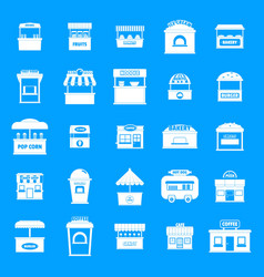 street food kiosk icons set simple style vector image