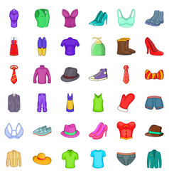 Stylish clothes icons set cartoon style vector