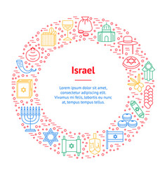 symbol of israel thin line banner card circle vector image