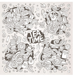 Tea time doodles hand drawn sketchy doodle vector