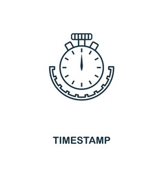 timestamp outline icon monochrome style design vector image