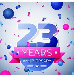Twenty three years anniversary celebration on grey vector image