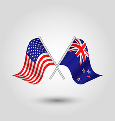 two crossed american and zealander flags vector image