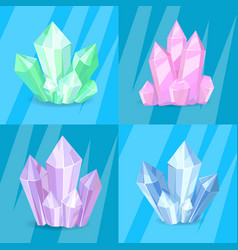 Variety green pink purple blue crystals precious vector