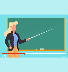 video tutorials female teacher near blackboard on vector image