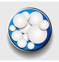 White circles in metallic border over blue vector image