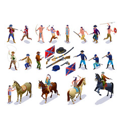 Wild west set indians cowboys army isometric icons vector