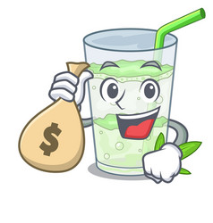 With money bag fresh lassi bhang in glas cartoon vector