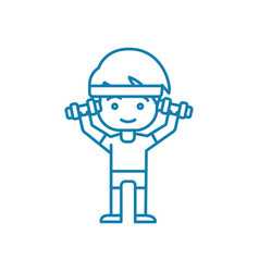 working out with dumbbells linear icon concept vector image