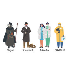 world pandemic doctor cartoon character set flat vector image