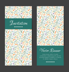 cards set with decorative flowers pattern vector image
