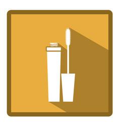emblem mascara brush icon vector image