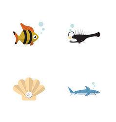 flat icon nature set of seafood shark fish and vector image