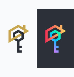 geometrical house and key icon vector image