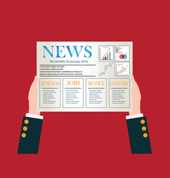 hand of businessman holding a daily newspaper vector image vector image