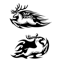 Leaping speeding deer Off Road icon vector image vector image