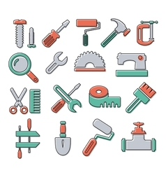 Linear icons tools vector image vector image