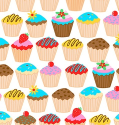 Little cupcakes seamless pattern vector image