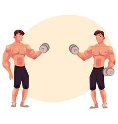 man bodybuilder two variants of bicep workout vector image