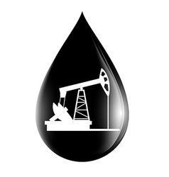 pumpjack silhouette on a drop of oil vector image