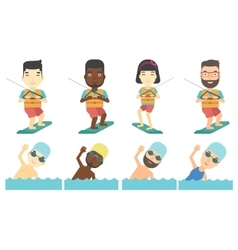 set of water sport characters vector image vector image