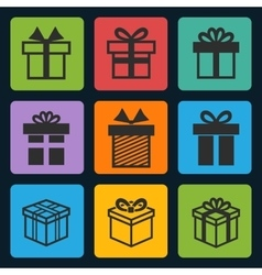 black gift box icons set vector image vector image