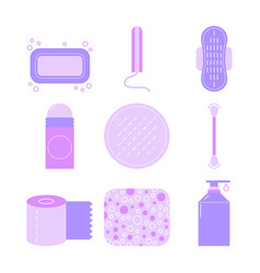 Feminine hygiene set of flat icons of care vector