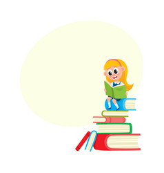 girl reading sitting on huge pile stack of books vector image vector image
