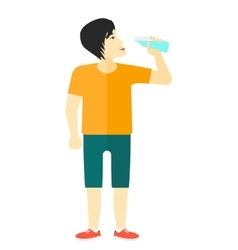 Man drinking water vector image vector image