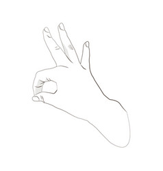 pop art ok hand sign isolated on white background vector image