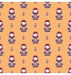russian doll matreshka seamless pattern vector image
