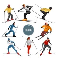set of skiers People skiing design vector image vector image